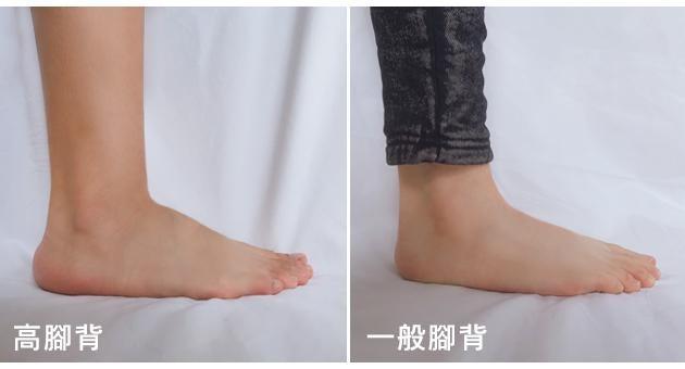高腳背和一般腳背的對照圖(圖片來源:FMshoes)