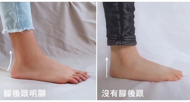 腳後跟明顯和沒有腳後跟的對照圖(圖片來源:FMshoes)
