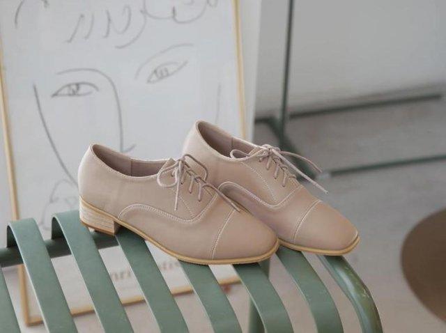 韓-方頭木跟紳士牛津鞋-大尺碼