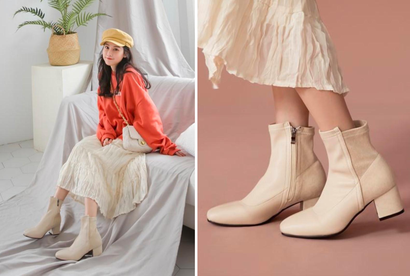 杏粉色襪靴,緊貼小腿,修飾腿型,秒變長腿妹