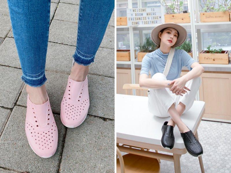 FMshoes防水懶人洞洞鞋可快速排水,成為許多女孩雨天必備鞋款