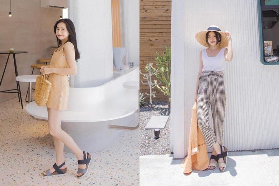 (撞色楔型涼鞋是今年夏天流行的鞋款,搭配淡色短裙或格子長褲,很有夏天的感覺。)