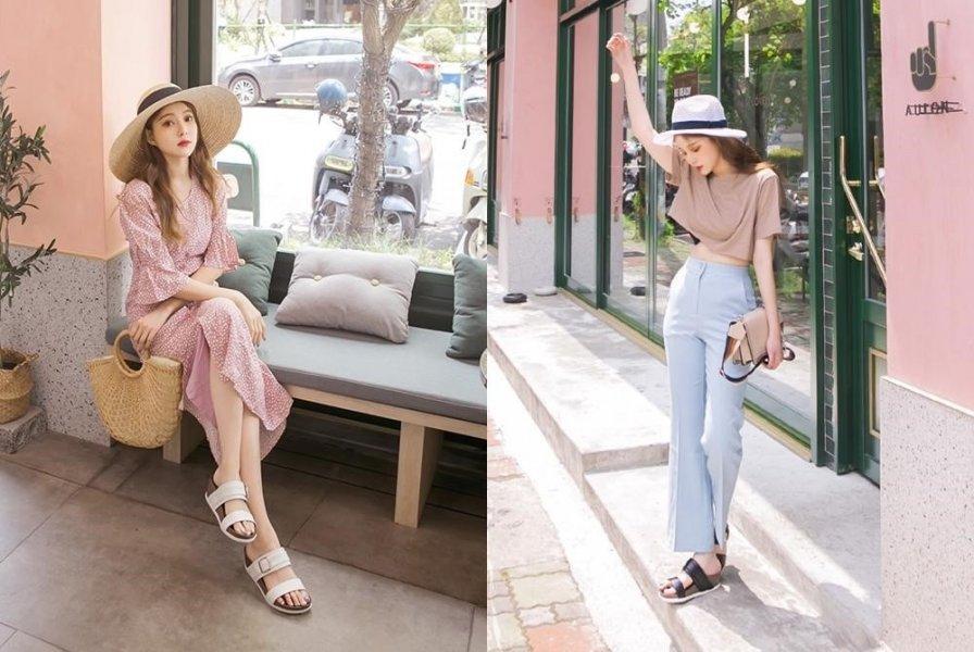 (喜歡簡單裝扮的女孩,可以挑選亮色的裙裝或衣褲配拖鞋,輕鬆又方便。)
